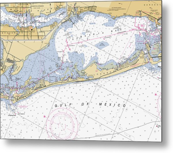 Longboat Ket Florida Noaa Nautical Chart Metal Print
