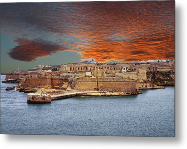 Looking Across Harbor From Fort St Elmo To  Fort Rikasoli Metal Print