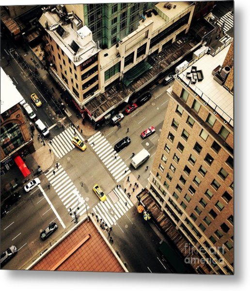 Looking Down On To The Streets Of New Metal Print