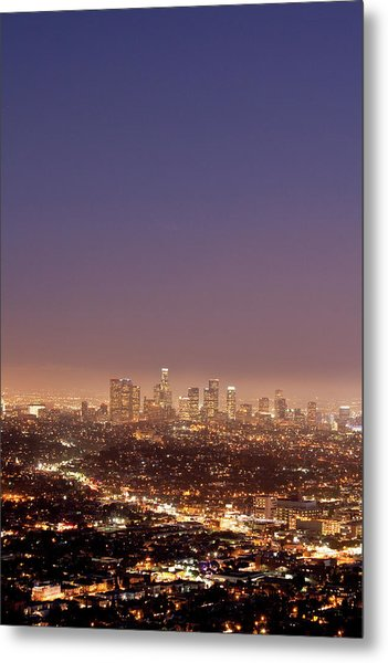 Los Angeles Skyline At Twilight Metal Print