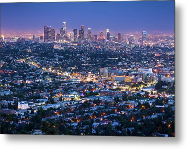 Los Angeles Skyline Cityscape At Dusk Metal Print by Chrishepburn