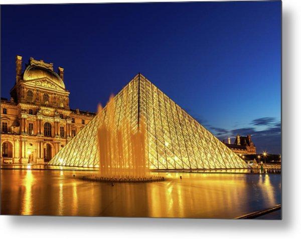 Louvre At Twilight Metal Print