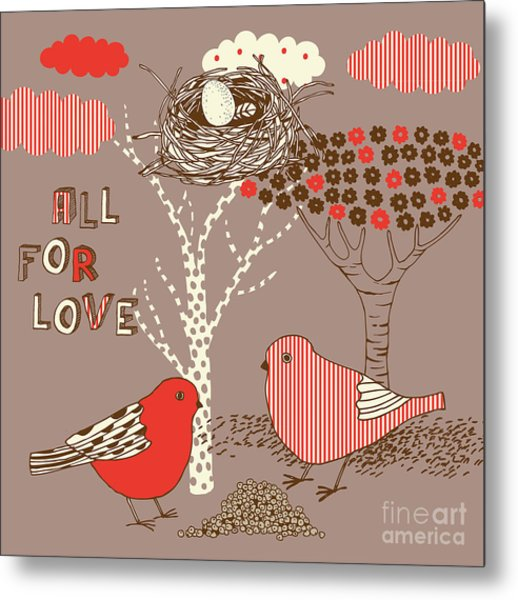 Love Background With Birds Metal Print