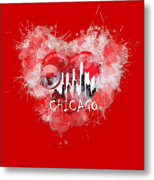 Metal Print featuring the digital art Love Chicago Colors by Alberto RuiZ