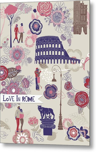 Love In Rome Greeting Card Metal Print