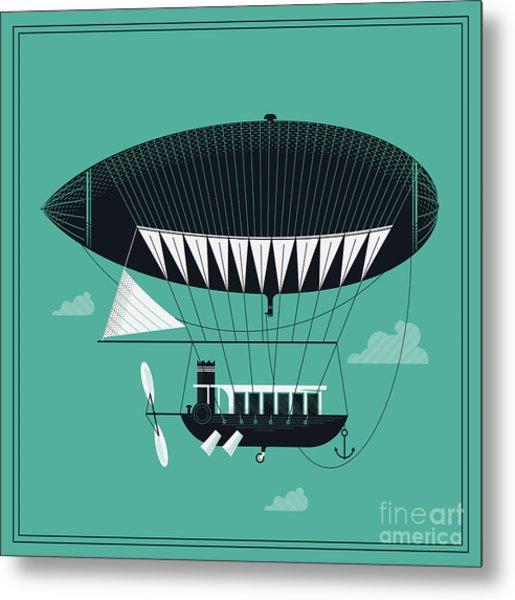 Lovely Vector Airship Illustration | Metal Print by Mascha Tace