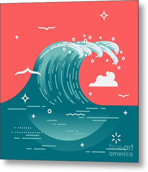 Lovely Vector Background On Large Ocean Metal Print by Mascha Tace