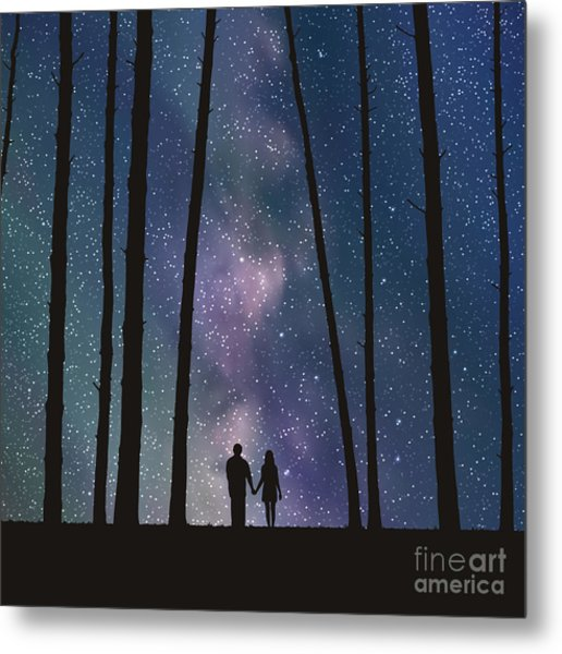 Lovers In Forest. Vector Illustration Metal Print