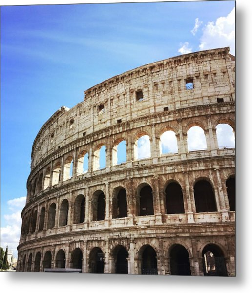 Low Angle View Of Coliseum Against Sky Metal Print by Kate Dalton / Eyeem