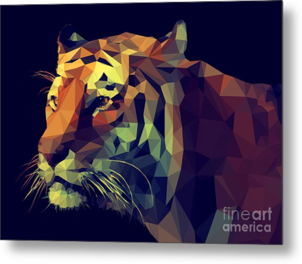 Low Poly Design. Tiger Illustration Metal Print