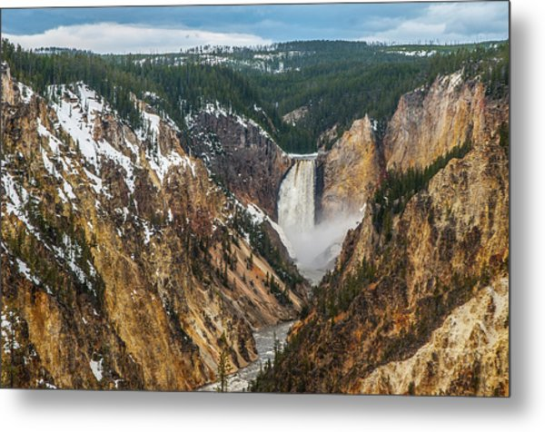 Metal Print featuring the photograph Lower Yellowstone Falls - Horizontal by Matthew Irvin