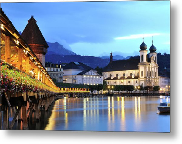 Lucerne At Dusk Metal Print by Aimintang