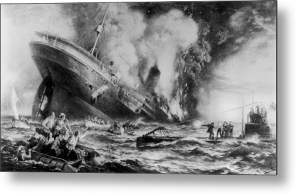 Lusitania Sunk Metal Print by Three Lions