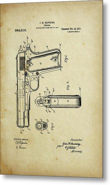 M1911 Browning Pistol Patent Metal Print