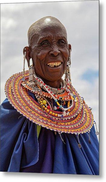 Maasai Woman In Tanzania Metal Print