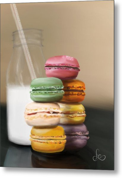 Metal Print featuring the pastel Macaroons  by Fe Jones