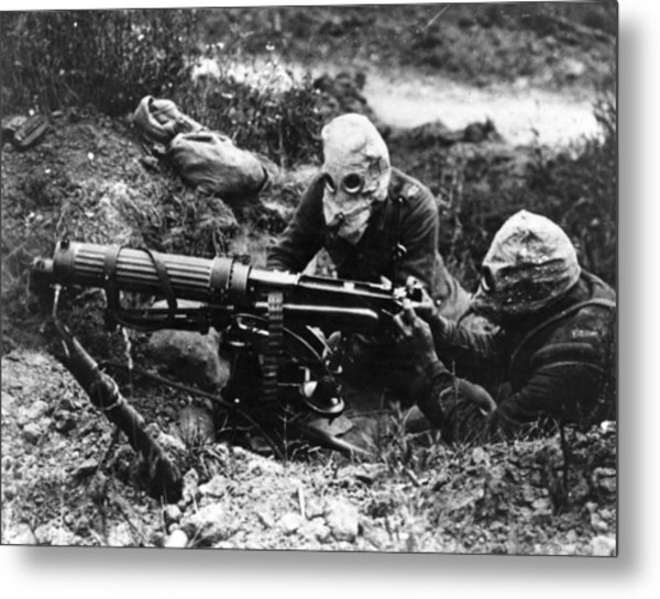 Machine Gunners Metal Print by General Photographic Agency