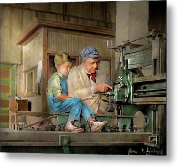 Metal Print featuring the photograph Machinist - Spending Time With Grandpa 1921 by Mike Savad