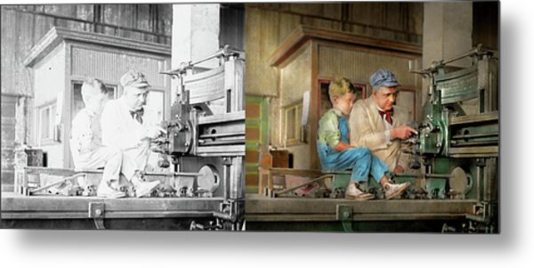 Metal Print featuring the photograph Machinist - Spending Time With Grandpa 1921 - Side By Side by Mike Savad