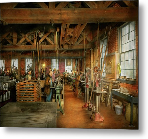 Metal Print featuring the photograph Machinist - The Glazier Stove Company 1900 by Mike Savad