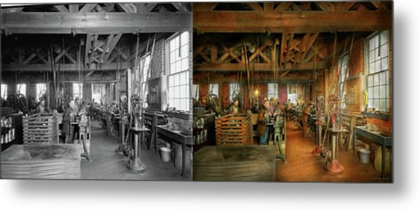 Metal Print featuring the photograph Machinist - The Glazier Stove Company 1900 - Side By Side by Mike Savad