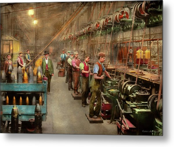 Metal Print featuring the photograph Machinist - War - The Shell Dept 1900 by Mike Savad