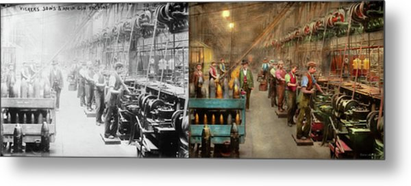 Metal Print featuring the photograph Machinist - War - The Shell Dept 1900 - Side By Side by Mike Savad