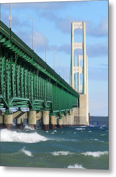 Mackinac Bridge And Waves Metal Print