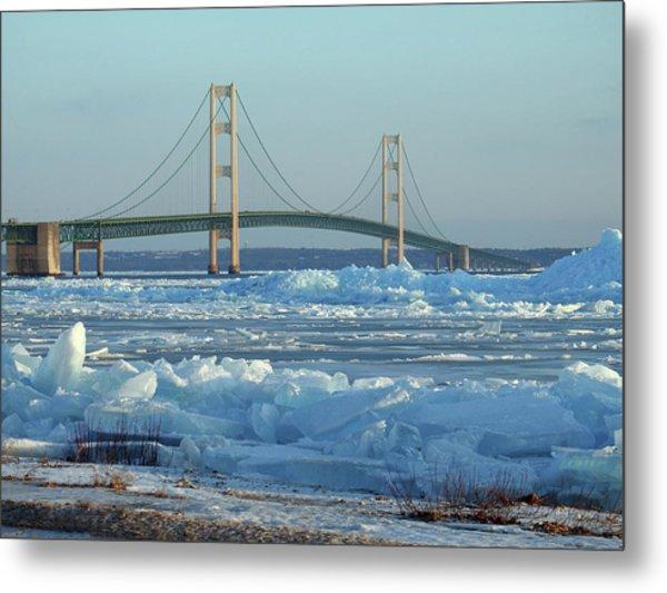 Mackinac Bridge In Ice 2161801 Metal Print