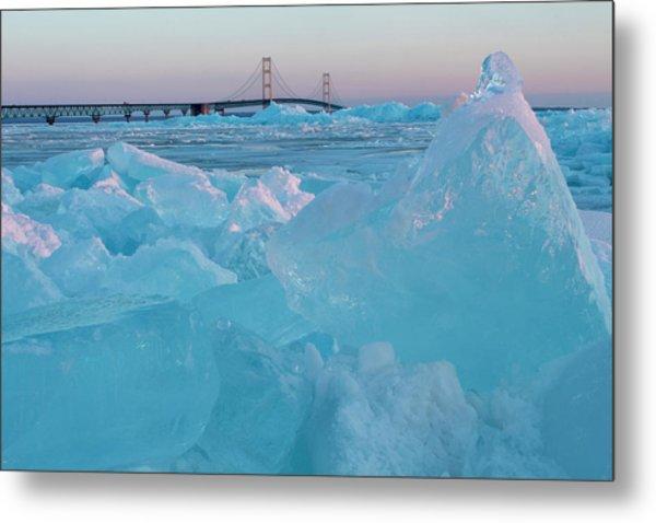 Mackinac Bridge In Ice 2161806 Metal Print