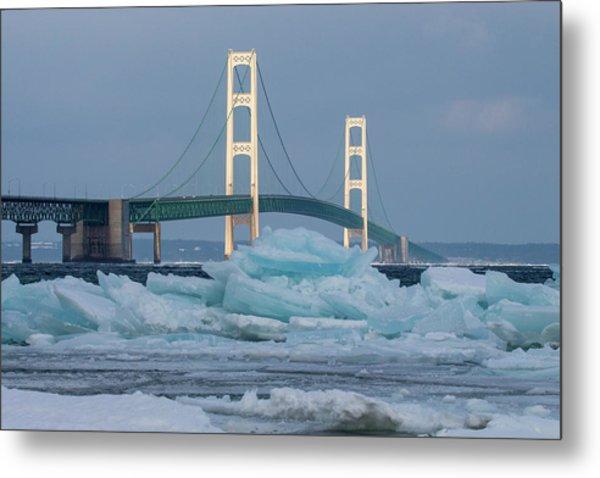 Mackinac Bridge In Ice 2161809 Metal Print