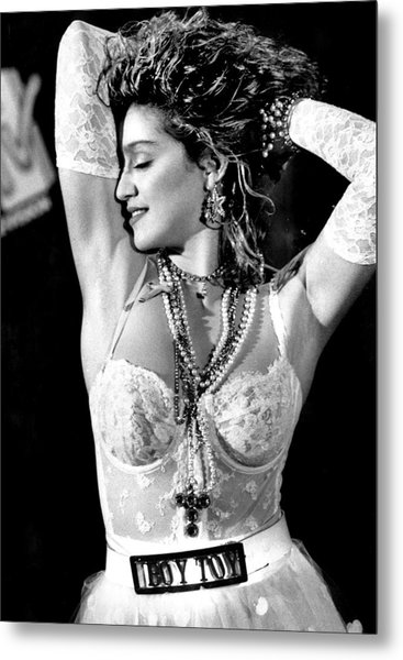 Madonna During A Performance At Mtv Metal Print