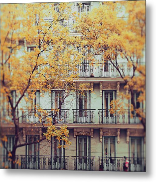 Madrid Facade In Late Autumn Metal Print by Julia Davila-lampe
