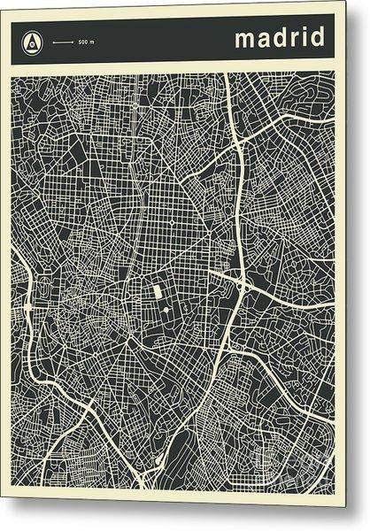 Madrid Map 3 Metal Print