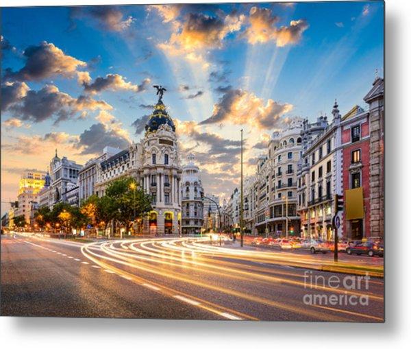 Madrid, Spain Cityscape At Calle De Metal Print