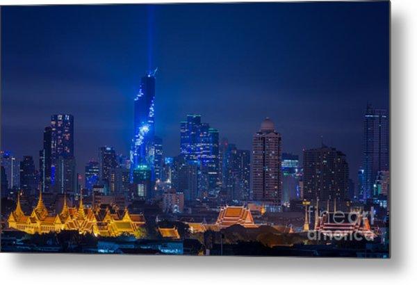 Mahanakhon Bangkok Rising Lightshow Metal Print
