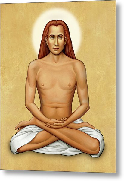 Mahavatar Babaji On Gold Metal Print