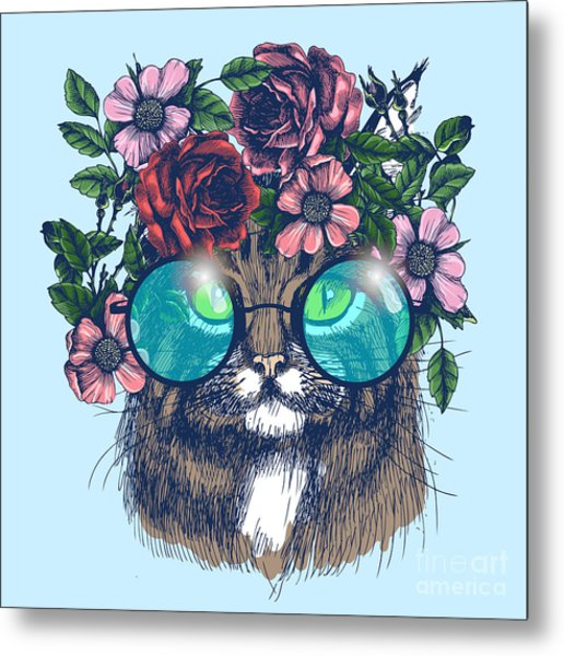 Maine Coon Cat Portrait With Floral Metal Print