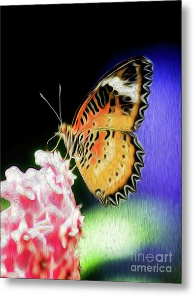 Metal Print featuring the digital art Malay Lacewing Butterfly I by Kenneth Montgomery