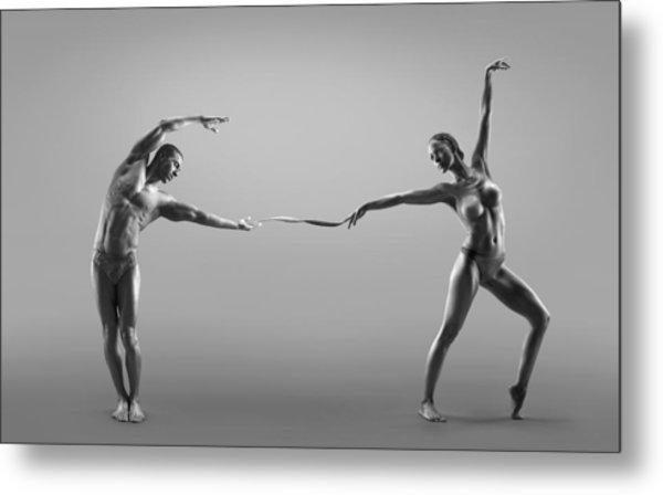 Male And Female Dancer Connected Through Metal Print