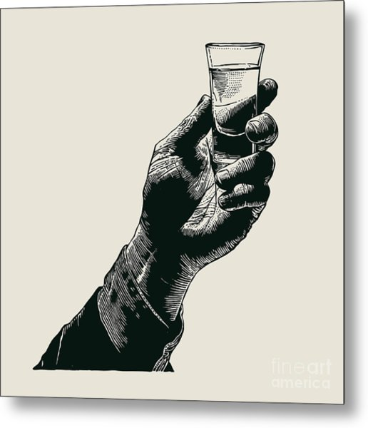 Male Hand Holding A Shot Of Alcohol Metal Print