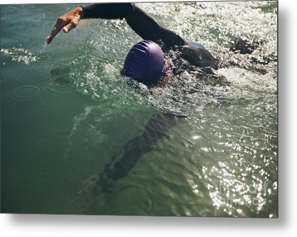Male Swimmer Swimming In Open Water Metal Print