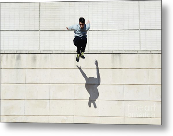 Male Tracer Free Runner Jumping Forward Metal Print