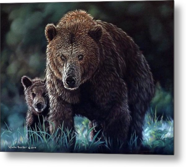 Mama Brown With Cubs Metal Print