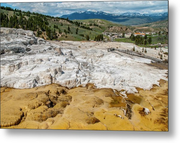 Metal Print featuring the photograph Mammoth Hot Springs And Hotel by Matthew Irvin