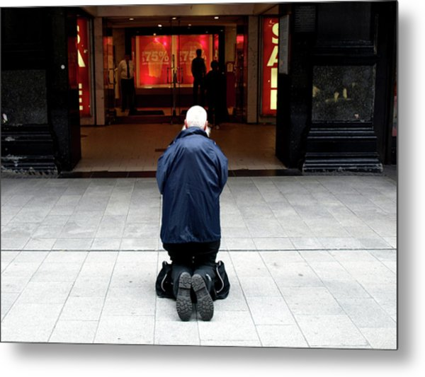 Metal Print featuring the photograph Man, Begging by Edward Lee