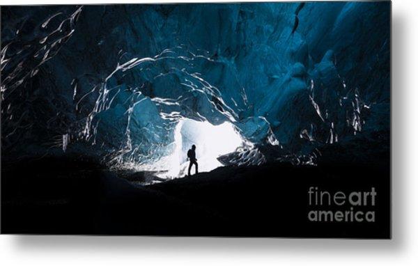 Man Exploring An Amazing Glacial Cave Metal Print