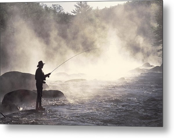 Man Fly-fishing In Contoocook River Metal Print