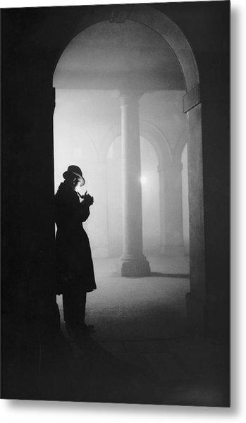 Man In Fog Metal Print by Arthur Tanner