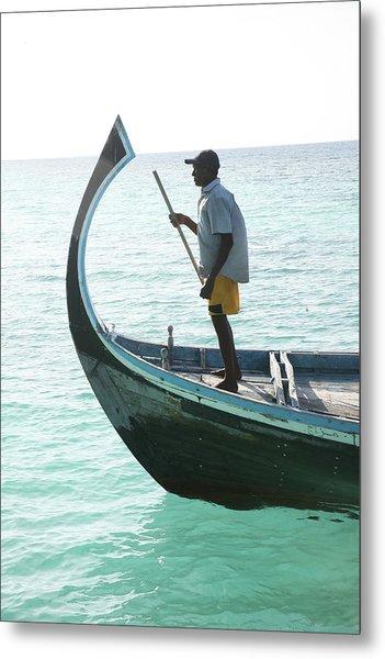 Man On Prowl Of Old Fishing Boat Metal Print